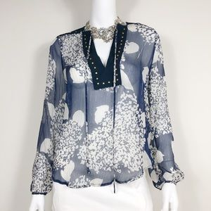 I1-3: Zara Blue w/ Metallic Gold Sheer size small